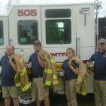 Fire Department Staff Standing with Truck